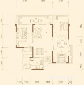 B-2 3室2厅2卫 125.8㎡-0㎡